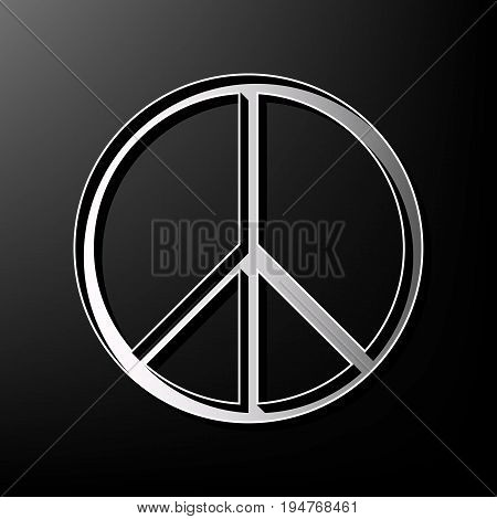Peace sign illustration. Vector. Gray 3d printed icon on black background.