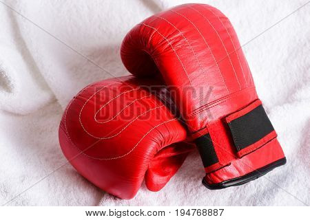 Couple Of Red Leather Mittens For Boxing With Black Parts