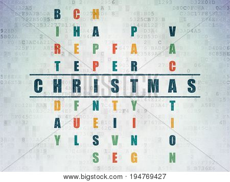 Holiday concept: Painted blue word Christmas in solving Crossword Puzzle on Digital Data Paper background