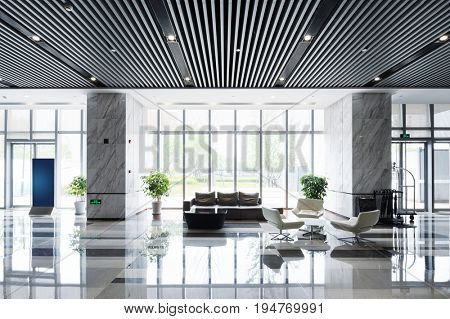 interior of spacious hall in modern office building
