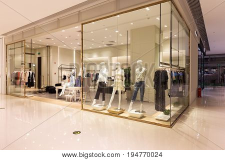 interior of fashion store in modern shopping mall