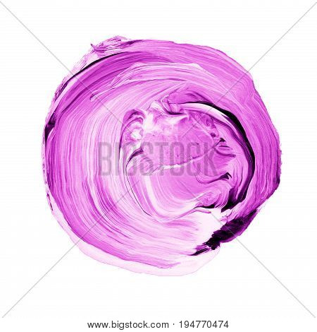 Acrylic Circle Isolated On White Background. Pink, Light Purple Round Watercolor Shape For Text. Ele