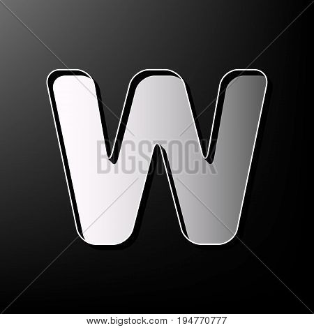 Letter W sign design template element. Vector. Gray 3d printed icon on black background.