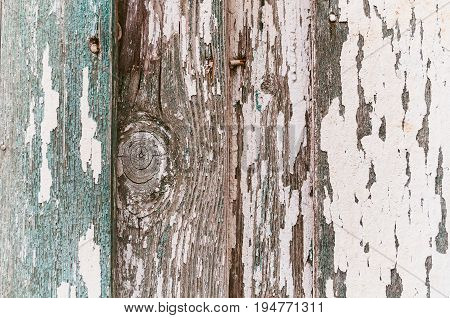 Texture wooden background with peeling paint -texture of flaked paint on the wooden surface. Grunge surface of peeling paint on the wooden planks. Closeup of wooden surface with peeling paint