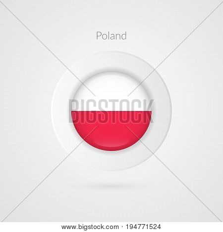 Vector Poland flag sign. Isolated Polish circle symbol. Eastern Europe country illustration icon for presentation project advertisement sport event travel concept web design badge logo