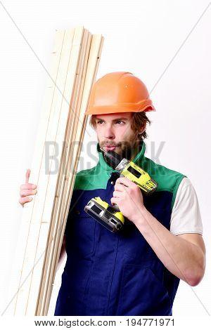Builder In Orange Helmet And Uniform. Finished Work, Building Concept