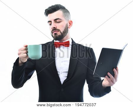 Broker Or Businessman With Beard And Smiling Face Holds Organizer