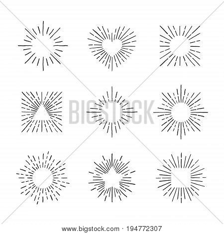 Sunburst ink hand drawn vector set. Vintage and hipster sun rays frames collection. Part one.