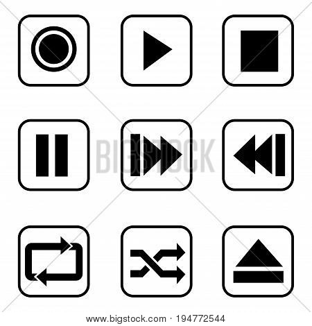 Media player buttons  icons on white background. Vector illustration.