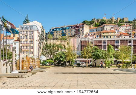 LISBON,PORTUGAL - MAY 17,2017 - At the square Martim Moniz in Lisbon. Lisbon is the capital of Portugal.
