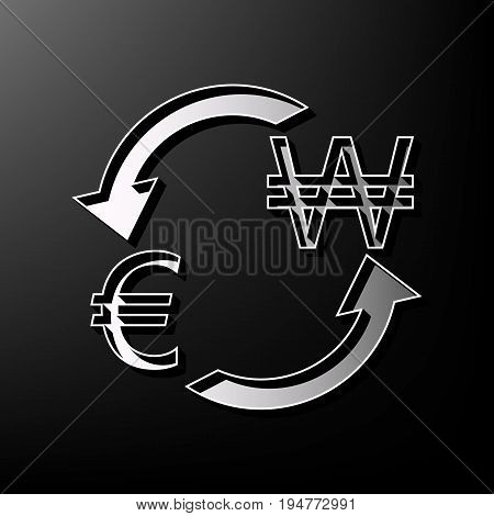 Currency exchange sign. Euro and South Korea Won. Vector. Gray 3d printed icon on black background.