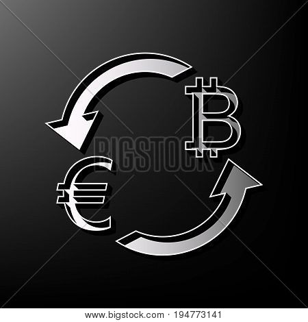 Currency exchange sign. Euro and Bitcoin. Vector. Gray 3d printed icon on black background.