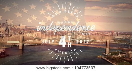 Digitally generated image of happy 4th of july text against united states of america flag