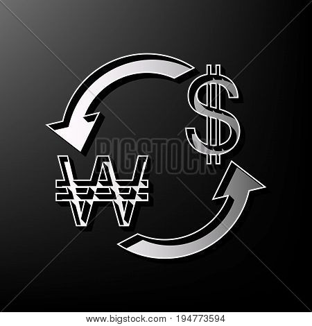 Currency exchange sign. South Korea Won and US Dollar. Vector. Gray 3d printed icon on black background.