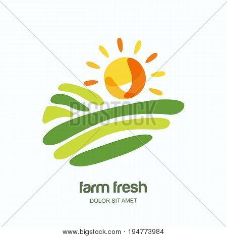 Farm And Farming Vector Logo, Label, Emblem Design. Isolated Illustration Of Fields, Farm Landscape