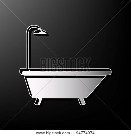 Bathtub sign. Vector. Gray 3d printed icon on black background.