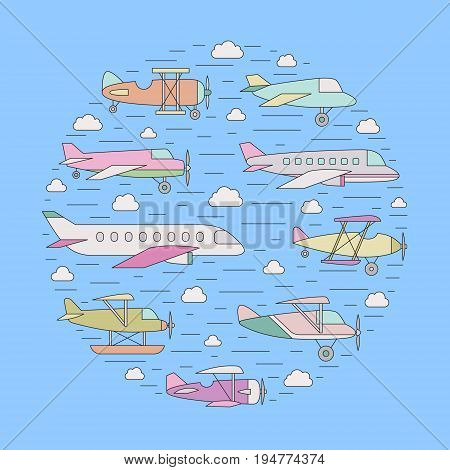 Airplanes (air balloon) in the sky outline circle illustration. Clean and simple design.