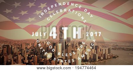 Multi colored happy 4th of july text against white background against view of cityscape with one world trade center by river against sky