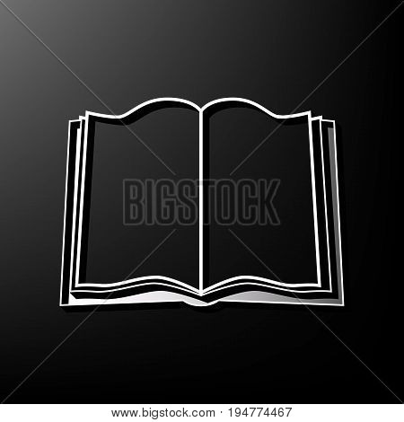 Book sign. Vector. Gray 3d printed icon on black background.