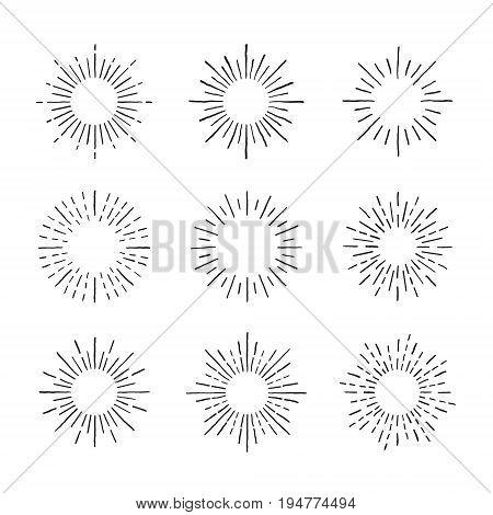 Sunburst ink hand drawn vector set. Vintage and hipster sun rays frames collection. Part four.