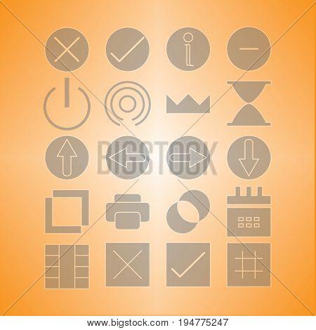 navigator icon set silhoutte with orange background