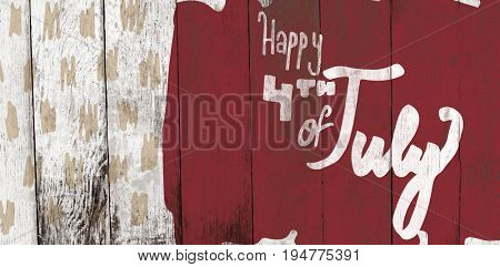 Digitally generated image of happy 4th of july text against wood panelling