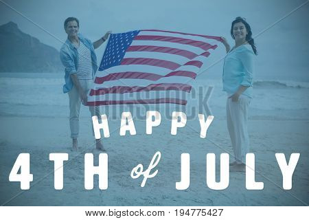 Digitally generated image of happy 4th of july text against portrait of couple holding american flag on beach
