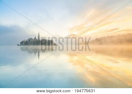 Sunrise at the lake Bled in autumn Slovenia Europe