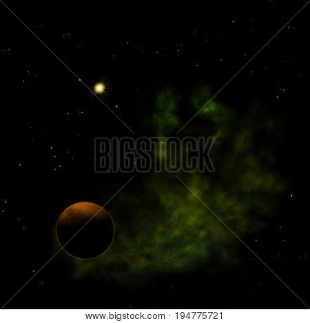 Far-out planets in a space against stars and nebula. Elements of this image furnished by NASA . 3D rendering.