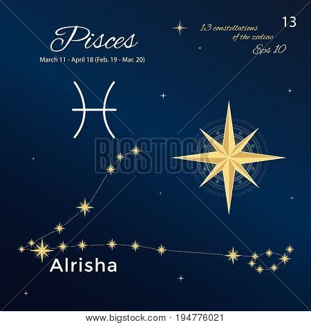 Pisces. High detailed vector illustration. 13 constellations of the zodiac with titles and proper names for stars. Brand-new astrological dates and signs. Vintage style