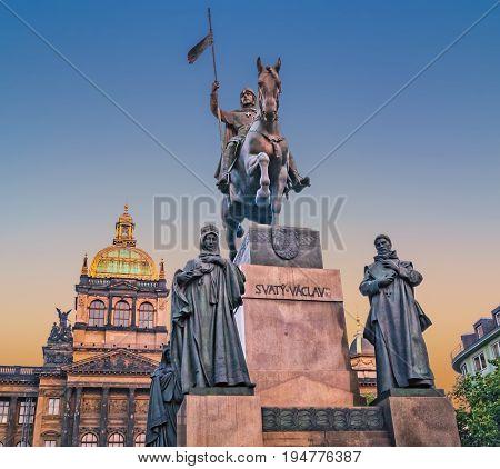 Prague, Czech Republic. Statue Of Saint Wenceslas, Evening View.