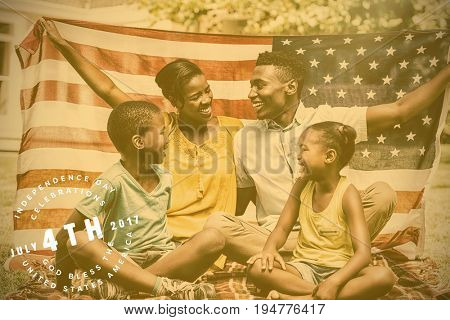 Multi colored happy 4th of july text against white background against happy family showing with usa flag