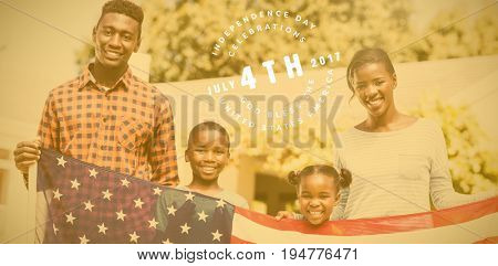 Multi colored happy 4th of july text against white background against portrait of happy family holding american flag on sunny day