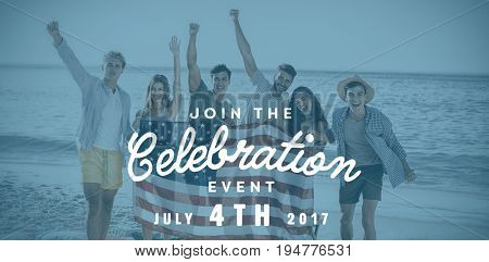 Computer graphic image of independence day message against happy group of friends at the beach