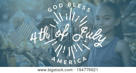 Digitally generated image of happy 4th of july message against happy family having a picnic and taking american flag