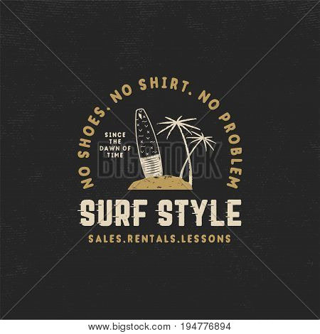 Surf style vintage label. Summer surfing style emblem with surfboard, tropical palms and typography elements. Use for t-shirts, clothing print, other brand identity. Stock vector isolated on black.