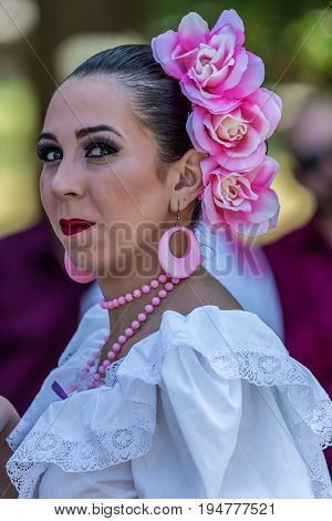 TIMISOARA ROMANIA - JULY 9 2017: Young dancer girl from Puerto Rico in traditional costume present at the international folk festival