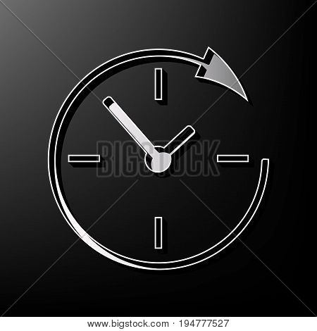 Service and support for customers around the clock and 24 hours. Vector. Gray 3d printed icon on black background.