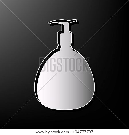 Gel, Foam Or Liquid Soap. Dispenser Pump Plastic Bottle silhouette. Vector. Gray 3d printed icon on black background.