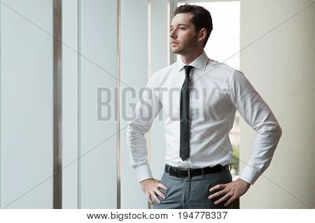 Closeup portrait of serious adult business man standing with hands on hips and looking through office window