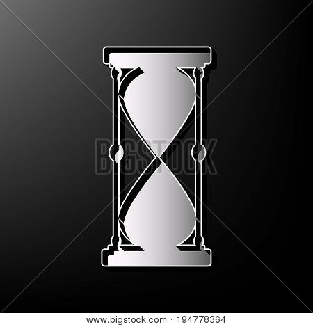 Hourglass sign illustration. Vector. Gray 3d printed icon on black background.