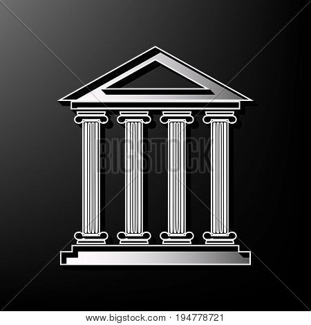 Historical building illustration. Vector. Gray 3d printed icon on black background.