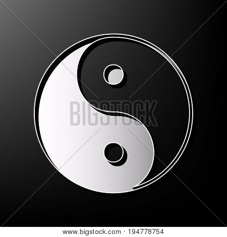 Ying yang symbol of harmony and balance. Vector. Gray 3d printed icon on black background.