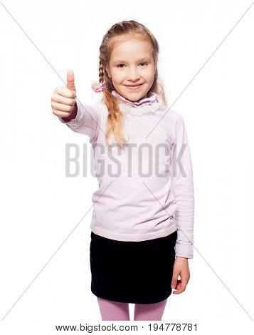 Child isolated on white. Girl showing thumb up. Ok