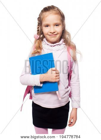 Girl with school bag isolated on white. Child with schoolbag.