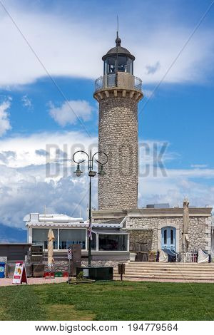 PATRAS, GREECE - MAY 28, 2015: Lighthouse in Patras, Peloponnese, Western Greece