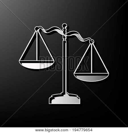 Scales of Justice sign. Vector. Gray 3d printed icon on black background.