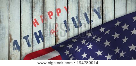 Digitally generated image of happy 4th of july text against wood background