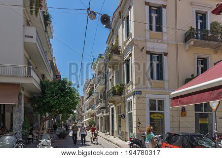PATRAS, GREECE MAY 28, 2015: Typical street in Patras, Peloponnese, Western Greece