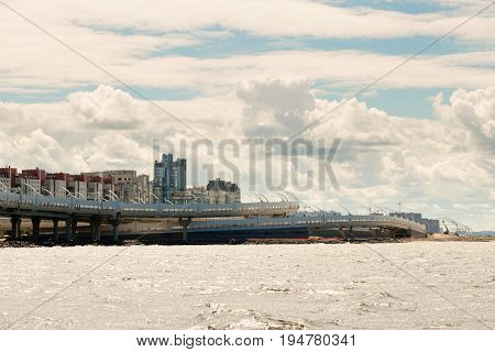 St. Petersburg, Russia - June 28, 2017: Panoramic View From The Bay To The Embankment In St. Petersb